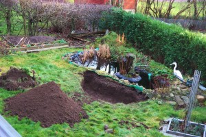 Så här ser det ut nu. Nästa hål ska grävas bredvid det gröna filtret till höger.